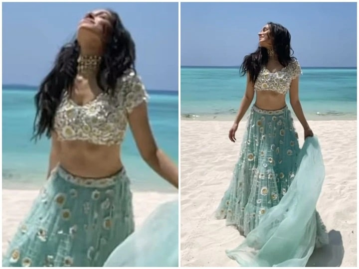 Shraddha Kapoor was seen wearing a lehenga on white sand in Maldives