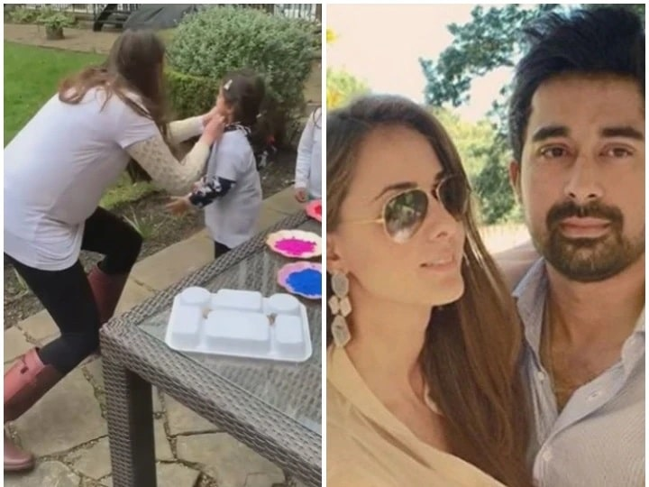Priyanka, pregnant wife of Ranvijay Singha, played Holi with daughter in this style, watch video
